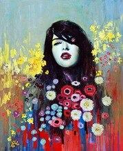 Spray painting girl portrait among flower on oil canvas for living room decor, wallpaper , gallery