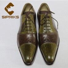 Sipriks hommes casquette-orteil chaussures habillées Oxfords patron imprimé peau dautruche chaussures daffaires Goodyear Welted costumes Social 46 cuir de vache