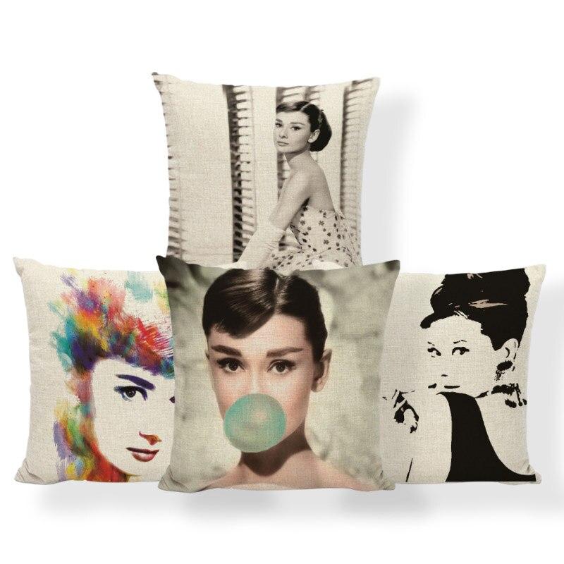 Audrey Hepburn cojines Actor Reino Unido almohadas carácter étnico regalos para estudiantes médicos almohada con cubierta de lino grande