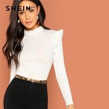 SHEIN moderne dame blanc Slim Fit Frill garniture solide col montant à manches longues pulls t-shirt 2018 automne Campus femmes t-shirt haut