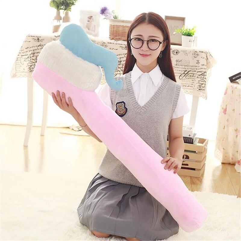 90CM de una pieza creativo cepillo de dientes almohada de algodón PP de peluche, durmiendo almohadas juguete de peluche sofá Decoración Oficina cojines 4 colores