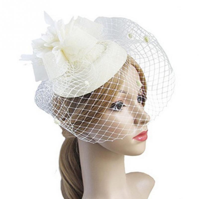 Женская заколка-шляпка, украшенная перьями и цветами