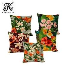Funda de cojín de flor Natural de verano hoja exótica Patrón de planta de jardín funda de almohada de sofá.