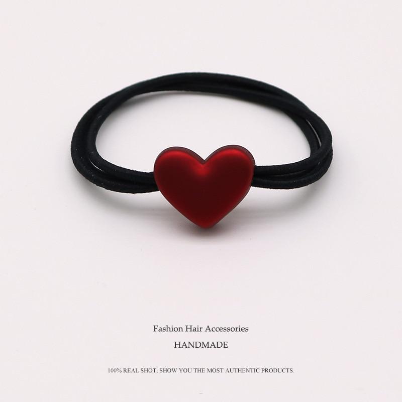 Euhra Popular de Nylon negro banda de goma de resina rojo perro y amor Arco-Nudo colgante elástico bandas para pelo para mujer y niñas sombreros