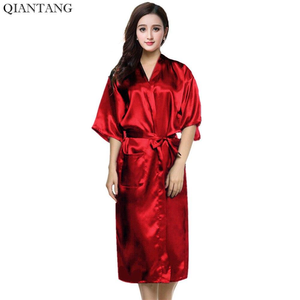 Kimono de seda de imitación para Mujer, bata de baño Sexy, camisón de talla S, M, L, XL, XXL, XXXL, Zh02A, color rojo, gran oferta