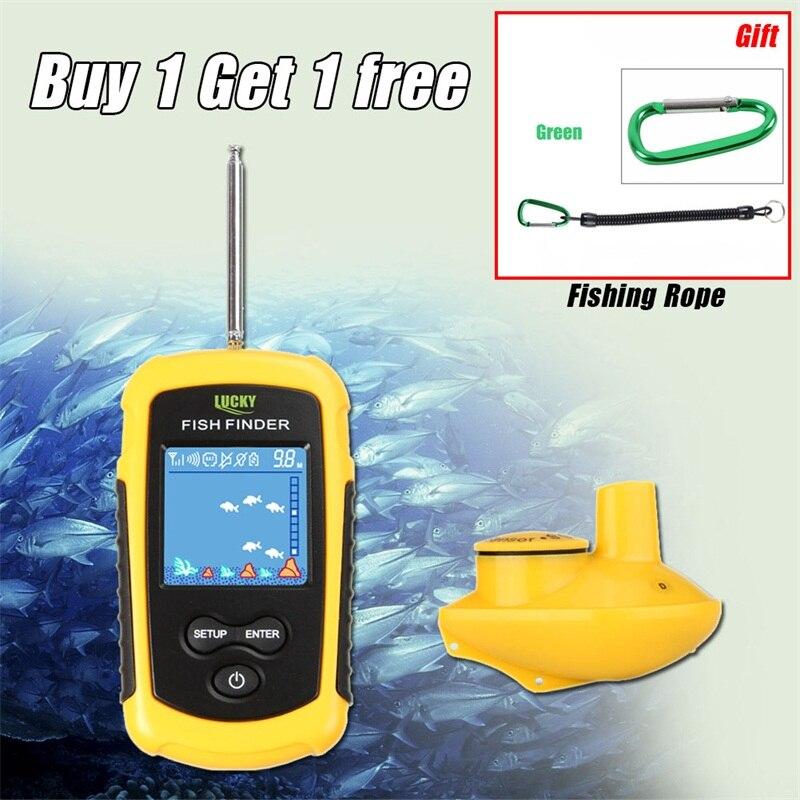 Buscador de peces Lucky portátil LCD con cable, profundidad de 100M, alarma eco Sounder, buscador de pesca, Sensor Sónar, transductor, RL49-0064 de mano