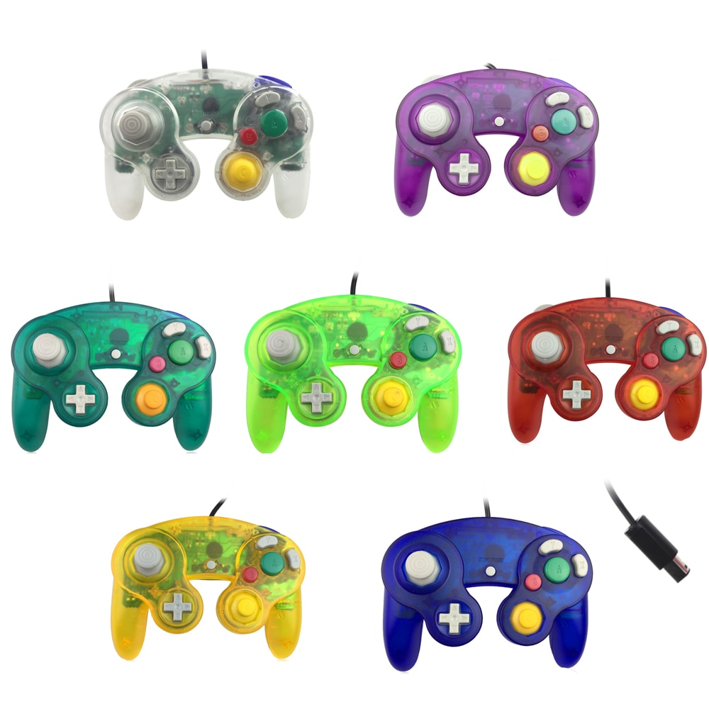 Transparent color For N-G-C gamepad One Button Wired Game Controller joystick for G-ameC-ube for G-C
