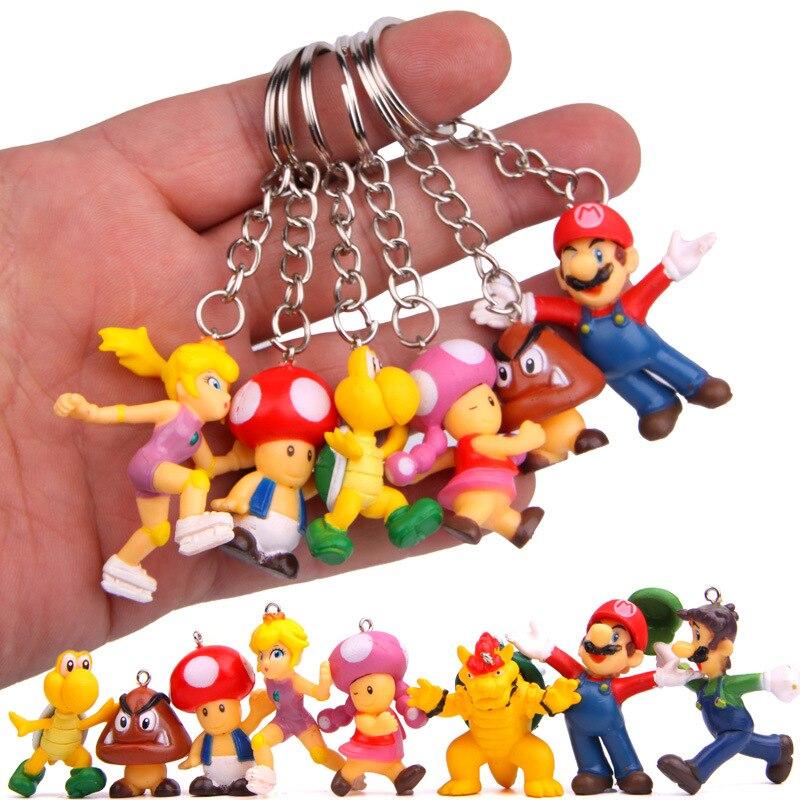Хит продаж, 8 шт./лот, Классический брелок Super Mario Bros, экшн-фигурка Mario Luigi Yoshi Peach Goomba King Kong, ПВХ, детские игрушки