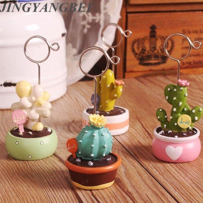 Mini resina cactus suculento plantas verdes Carpeta de fotos escritorio memorándum flores falsas bolas Decoración de mesa