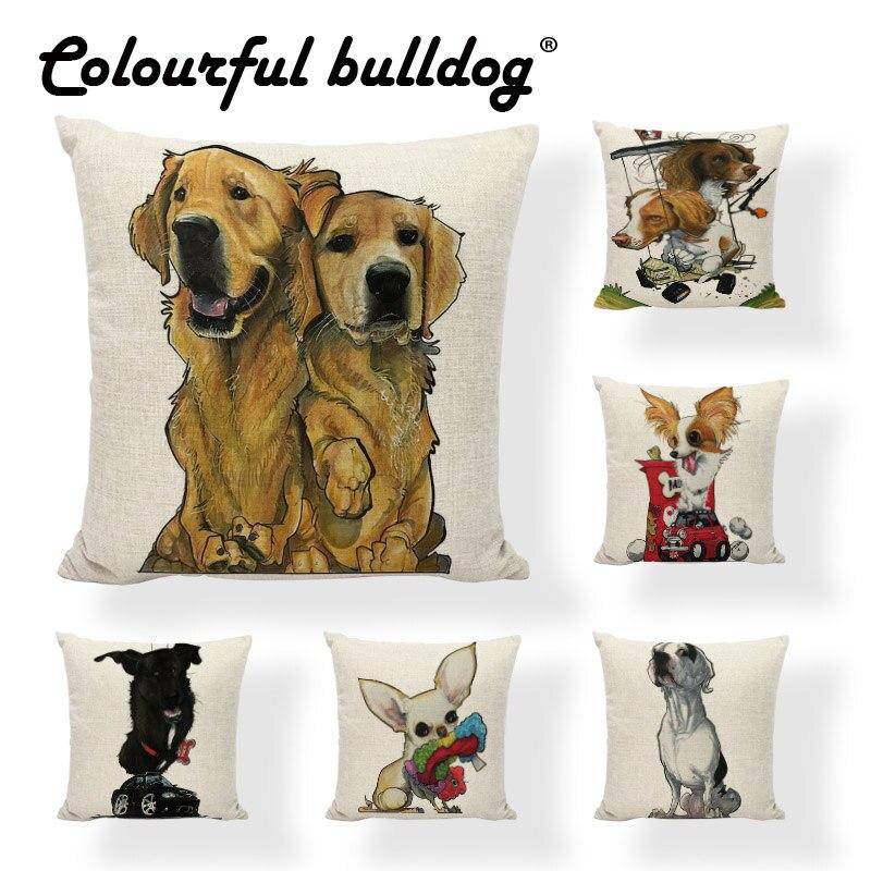 Funda de cojín encantador perro peludo Animal de dibujos animados Corgi Doberman Bulldog francés Pug Gaming silla al aire libre decoración del hogar sofá funda de almohada