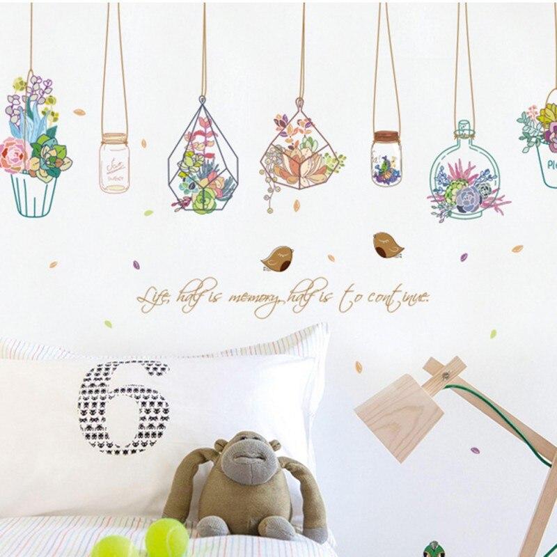 Pegatinas papel de pared flor fresca cesta Botella/acuarela viento flor maceta decoración de cristal fondos de pantalla para decoración para sala de estar AB