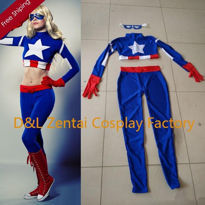 Envío gratis por DHL, disfraz de Capitán América para adulto, superhéroe mujer, fiesta de Halloween, Cosplay, traje de LICRA Zentai SH1710