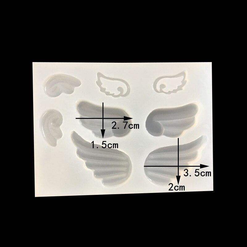 1 = 4 pares mini espejo bonito AB plástico cristal epoxi molde alas colección joyería colgante molde de silicona DIY manual molde