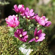 YO CHO Fake Cosmos Bipinnata Bouquet Artificial Coreopsis Flower For Home Wedding Decor Autumn Mum Flower Bouquet Display Flower