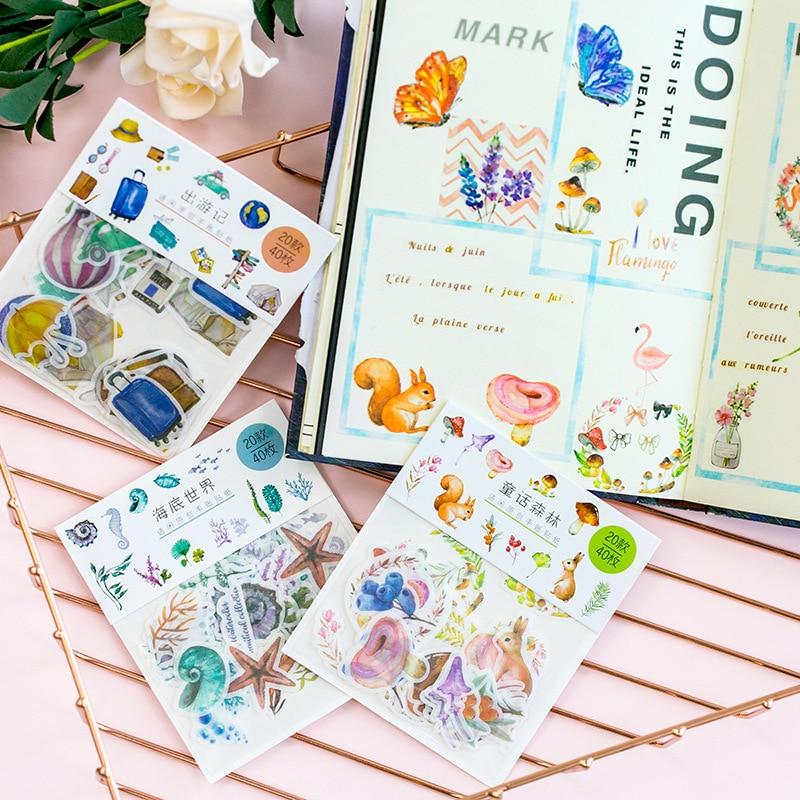 40 unids/pack Flamingo animales adhesivo decorativo pegatinas decorativa de álbum diario palo etiqueta Decoración Adhesivo de papelería