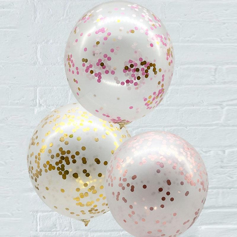 2Pcs 18inch Gold Rosa Konfetti Ballon Hochzeit Dekoration Klar Latex Aufblasbare Konfetti Ballon Geburtstag Baby Shower Decor
