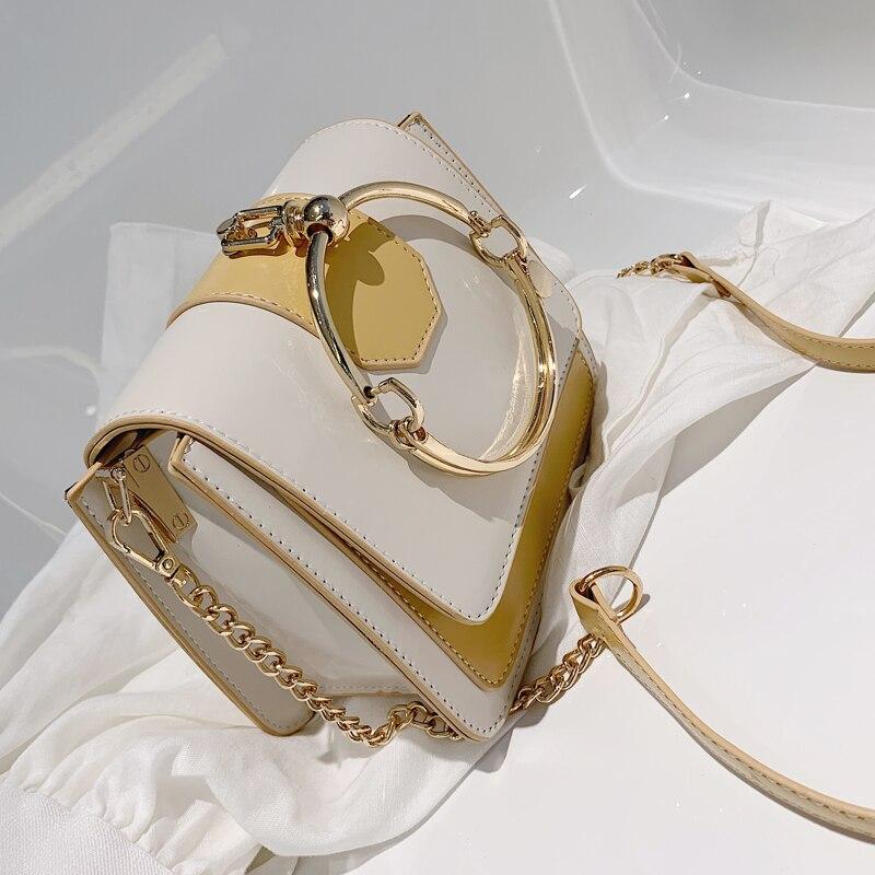 Elegante Weibliche Metall Ring Tote tasche 2020 Sommer Neue Hohe Qualität PU Leder frauen Designer Handtasche Kette Schulter Messenger tasche