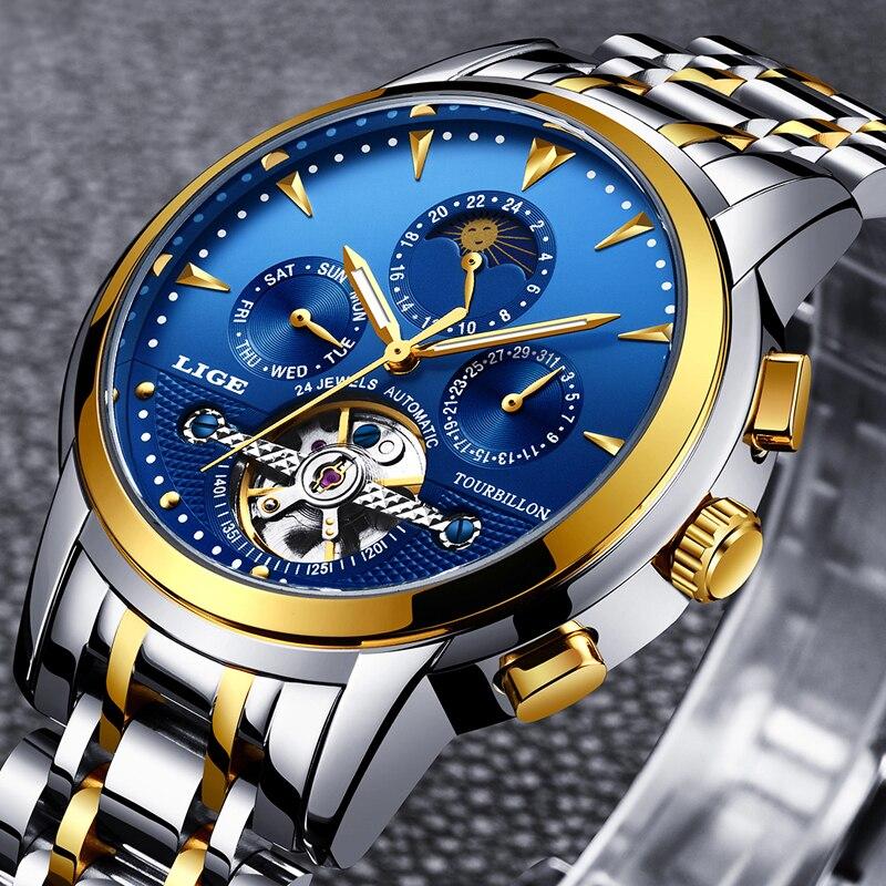 Reloj para Hombre, reloj automático, resistente al agua, Tourbillon, automático, resistente al agua, para Hombre