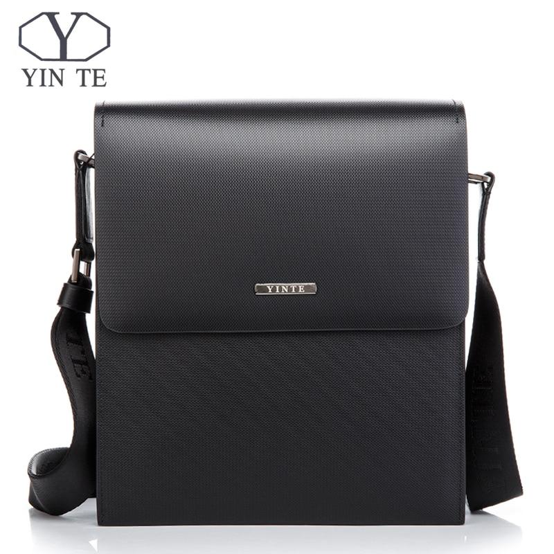 YINTE الكلاسيكية الرجال رسول حقيبة رجال الأعمال الكتف حقيبة الصلب حقيبة عبر الجسم حقيبة جلدية حقيبة محفظة T8203-2