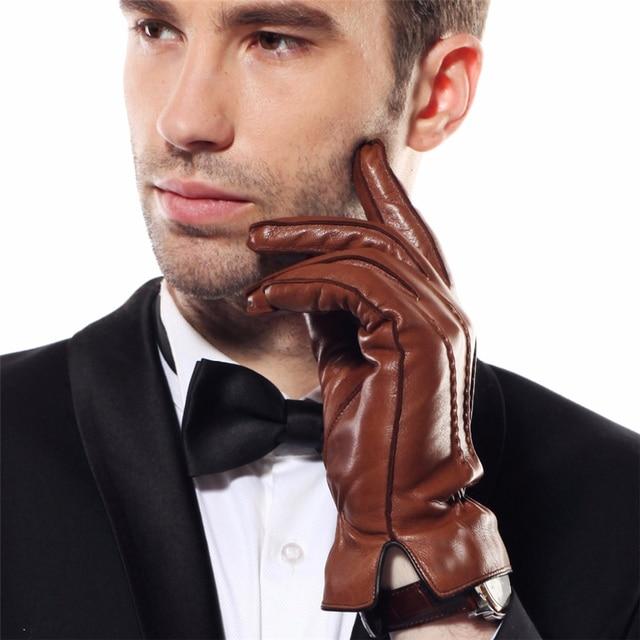 2018 HOT SALE Men's Genuine Leather Gloves Swallow Tailed Design Winter Sheepskin Glove Velvet Lined Gloves Male EM009WQF-5