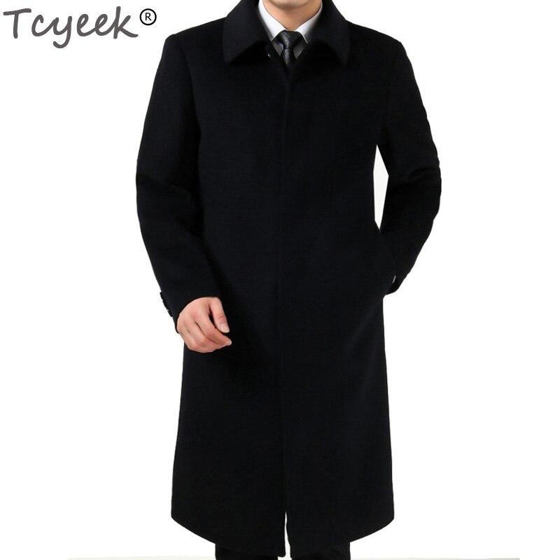 Tcyeek hiver hommes longs manteaux 3XL hommes laine vestes cachemire manteau affaires décontracté laine & mélanges veste pardessus HH146
