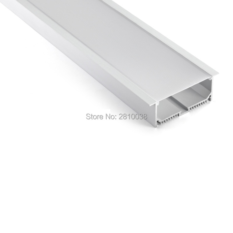 50X2 M juegos/lote de brida lineal de aluminio carcasa de perfil led Ultra ancha forma T canal de perfil de aluminio led para lámparas de techo
