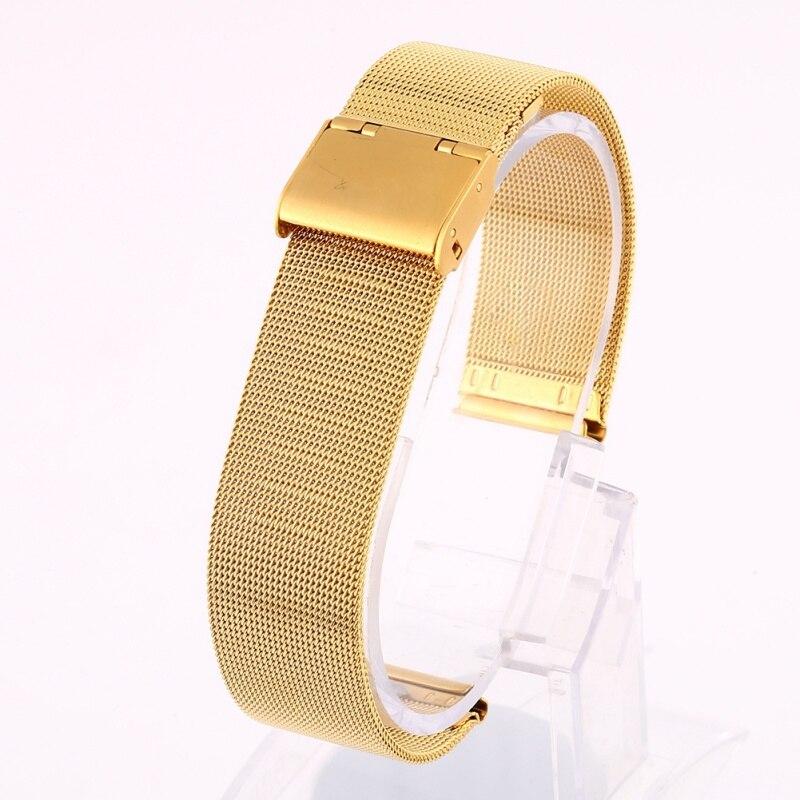 Correa de reloj milanesa de Metal y acero inoxidable de 12-24mm para mujer y hombre, pulsera negra, rosa, dorada y plateada