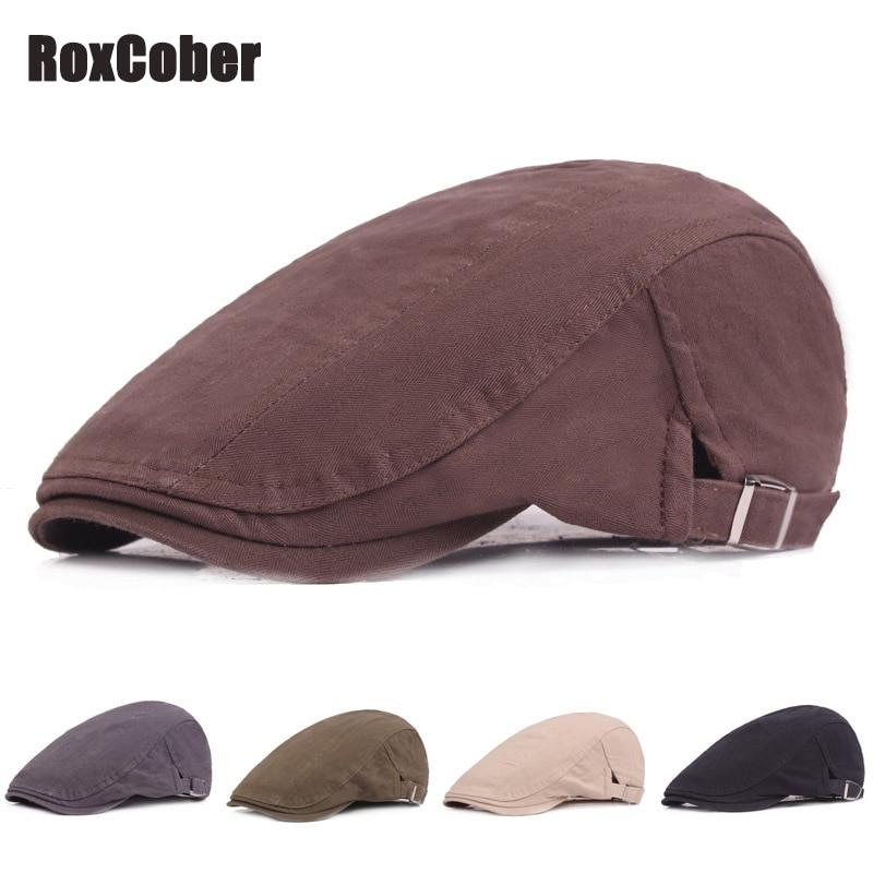 RoxCober Spring Summer Cotton Newsboy Caps Vintage Flat Ivy Cap Men Women Fashion Gatsby Hat Adjustable Berets