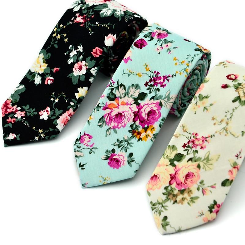 2020 New Fashion Ties for Men 100% Cotton Tie Floral Printing Classic Mens Necktie Business Casual Vintage Gravatas Neck ties