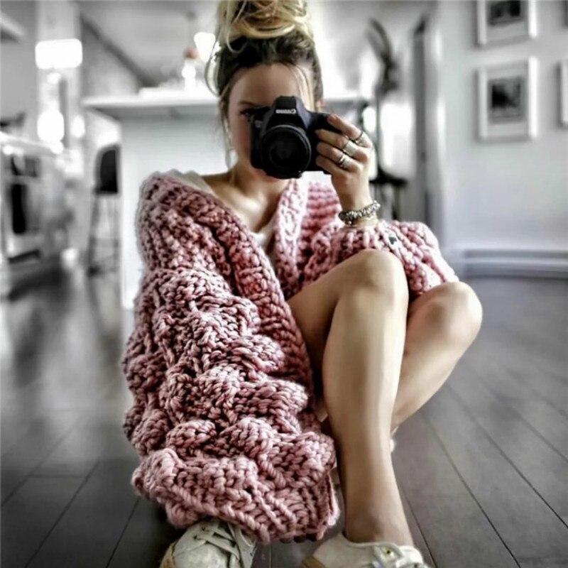 Otoño Invierno lana gruesa tejida a mano suéter mujeres cuello pico perezoso viento áspero lana de punto linterna manga cardigan chaqueta abrigo