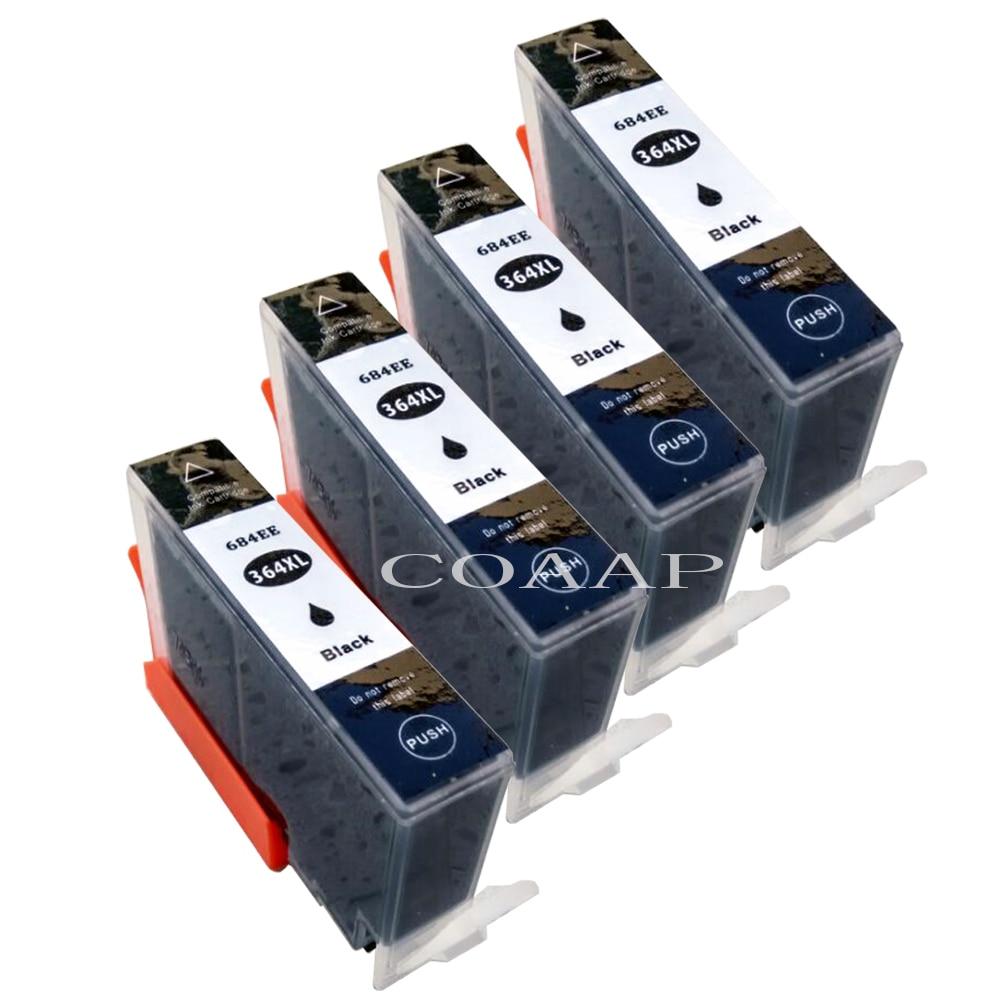 4x Compatible 364XL negro Cartuchos de tinta para HP Photosmart 5510 5520 Deskjet serie 3070A 3520 Officejet 4610 4620 4622 impresora de inyección de tinta
