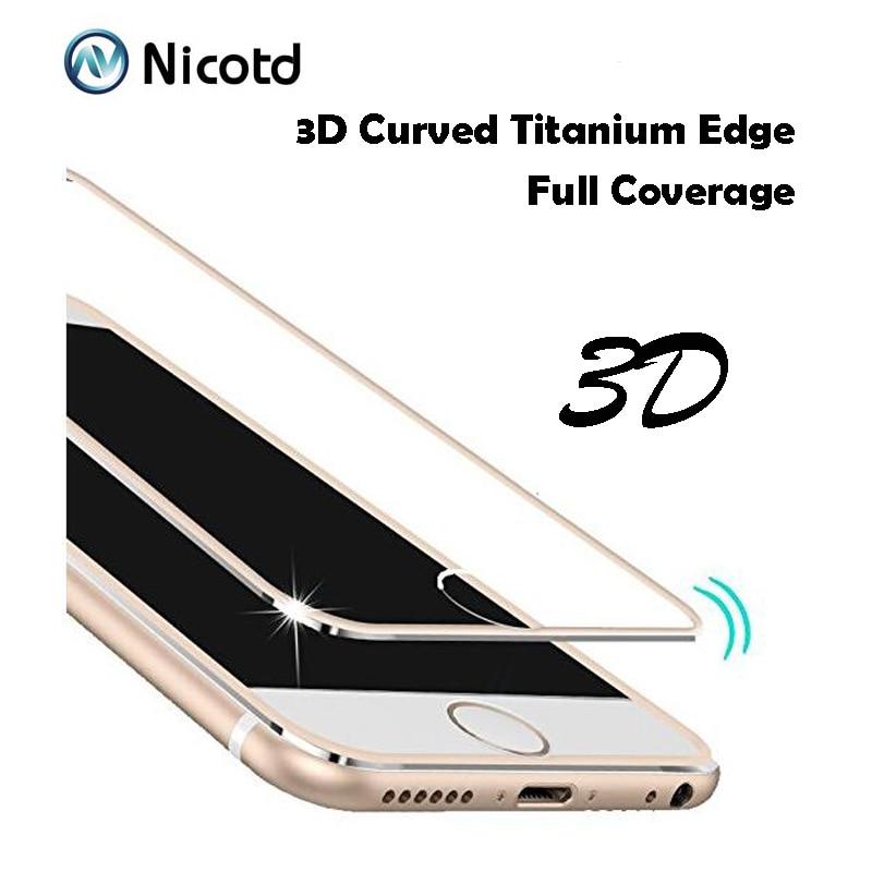 Vidrio templado de aleación de titanio 3D para iphone 8 plus 6 7 6s Plus, protector de pantalla de cobertura completa, vidrio protector para iphone x 5 5s se