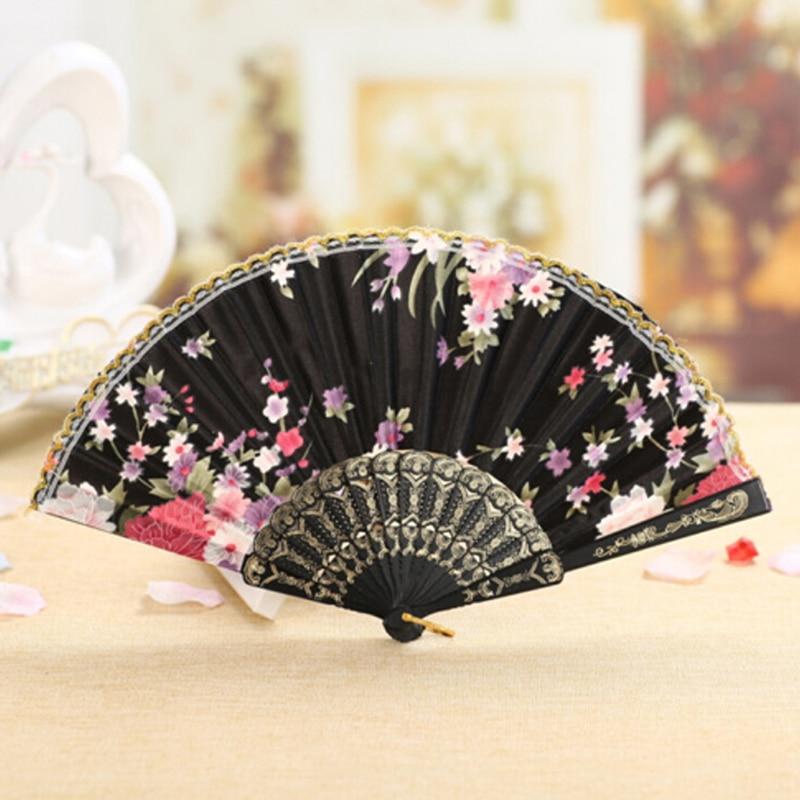 Folding fã de flor do vintage estilo chinês rendas mão dobrável fã dança festa casamento decoração ventilador plegable fãs