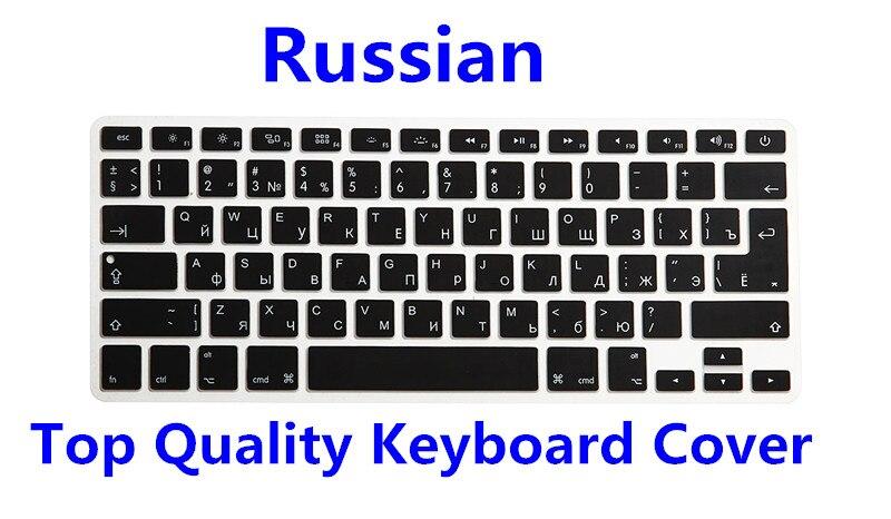 Para Macbook Air Pro Retina 13 15 17 español portugués italiano hebreo árabe ruso francés inglés laptop teclado cubierta piel