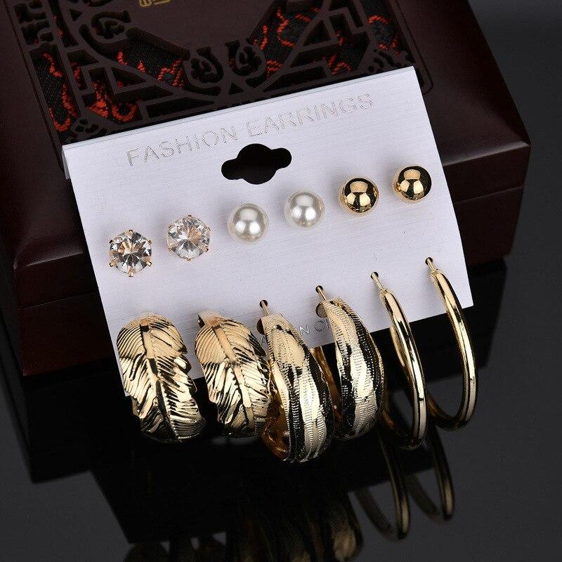 Venta al por mayor, juego de 6 pares de pendientes de tuerca de bola de Color dorado para mujer, pendiente de perla simulada Vintage, joyería de disfraz Brincos
