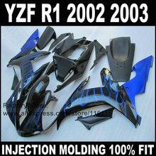 YAMAHA YZF R1 용 전체 사출 금형 페어링 키트 2002 2003 R1 02 03 푸른 불꽃 ABS 페어링 부품