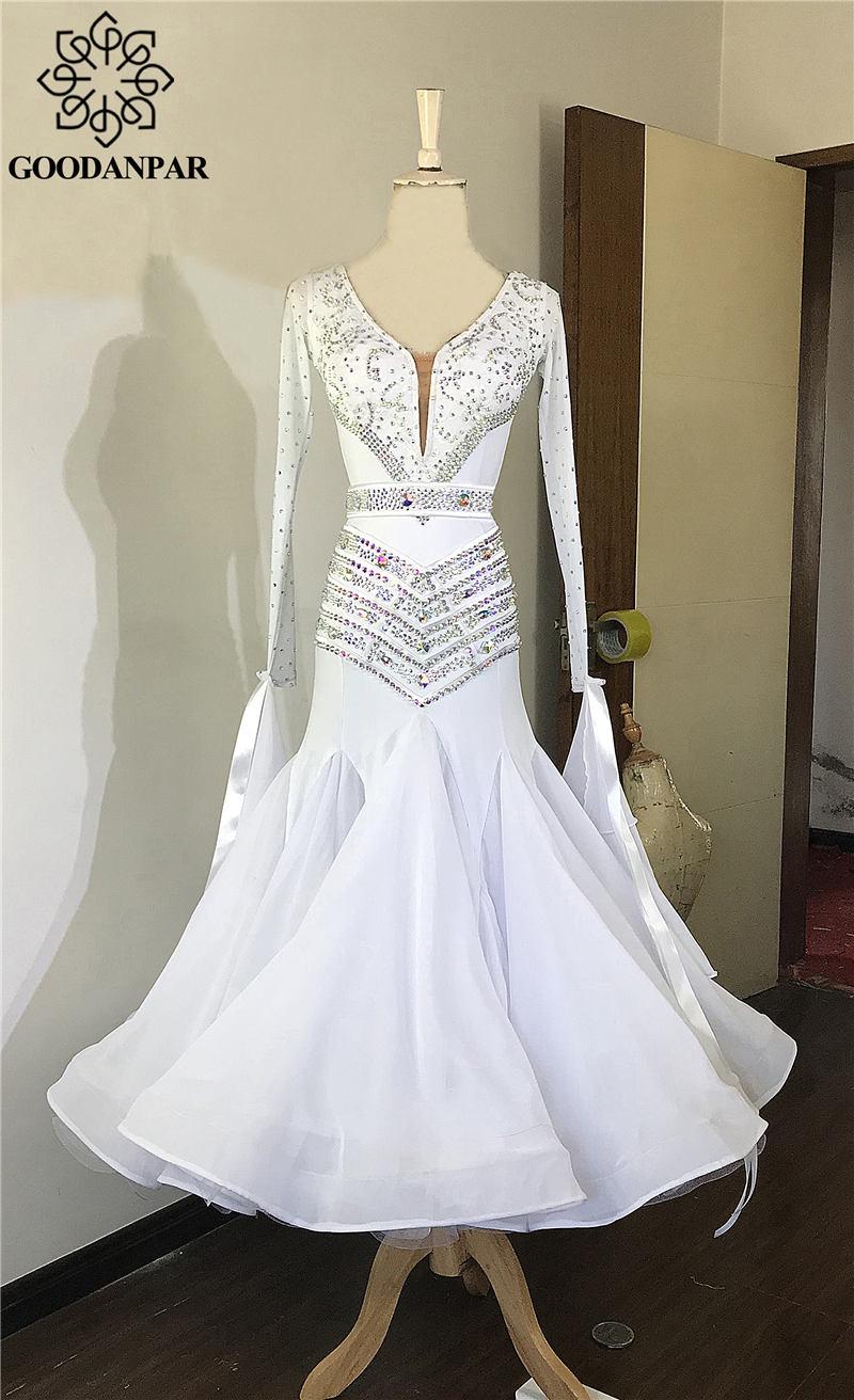 GOODANPAR-فستان مسابقة رقص من الليكرا الحريري للنساء ، مع بدلة ، أكواب حمالة صدر ، فستان رقص قياسي