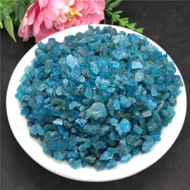 Blue apatite quartz crystal tumbled stone rieki healing natural stone and minerals for home garden decoration 100g