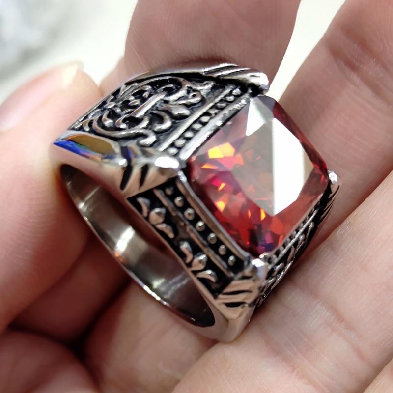 Anillo de acero inoxidable 316L estilo Punk de anillos de piedra CZ Vintage para hombre joyería de alta calidad para hombre con Cristal