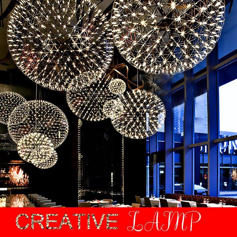 Барный светильник, современные подвесные светильники с фейерверком, светодиодная Подвесная лампа из нержавеющей стали для бар/ресторана