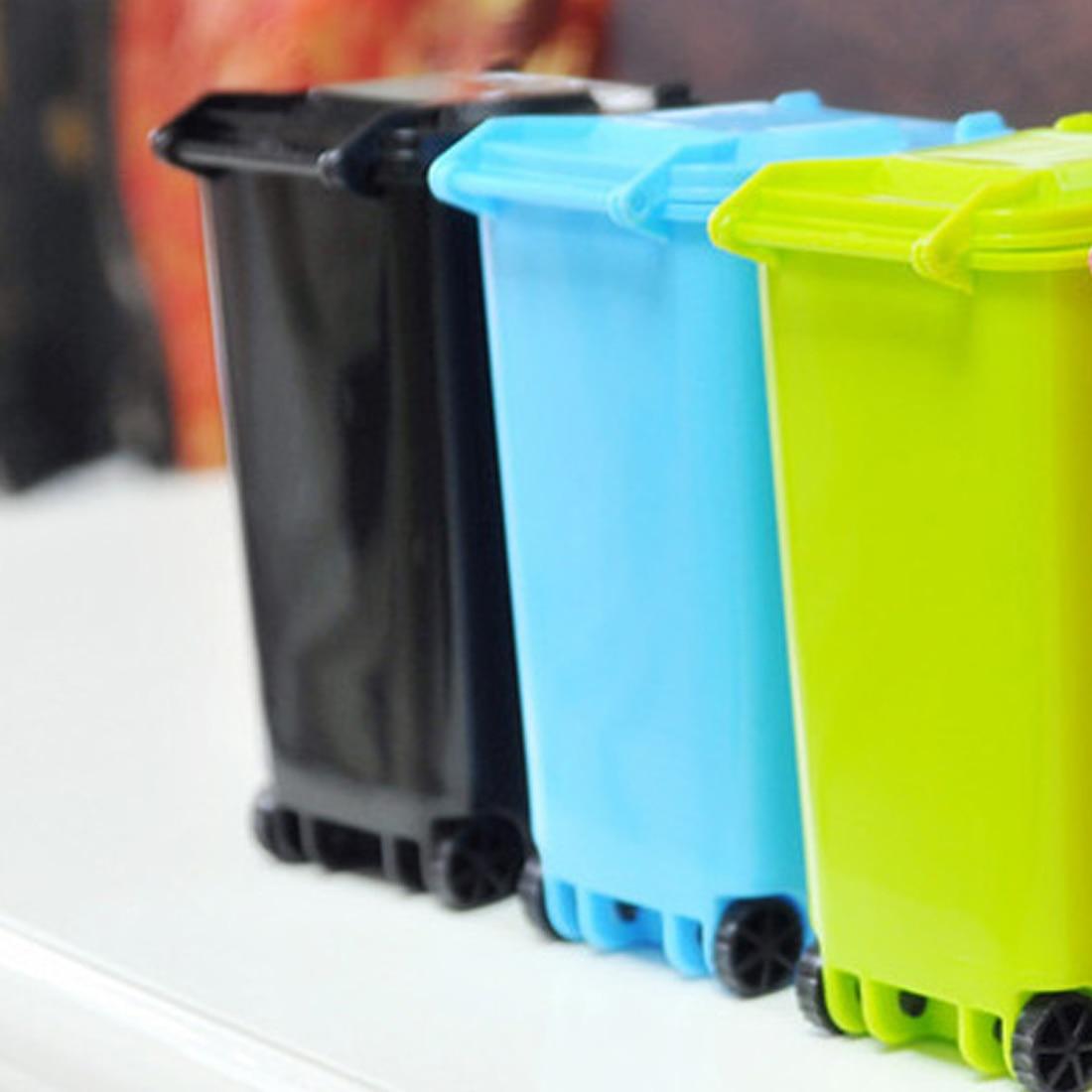Cubo de basura colorido y alta calidad reciclaje Mini contenedor de almacenamiento titular de la pluma para el hogar o al aire libre