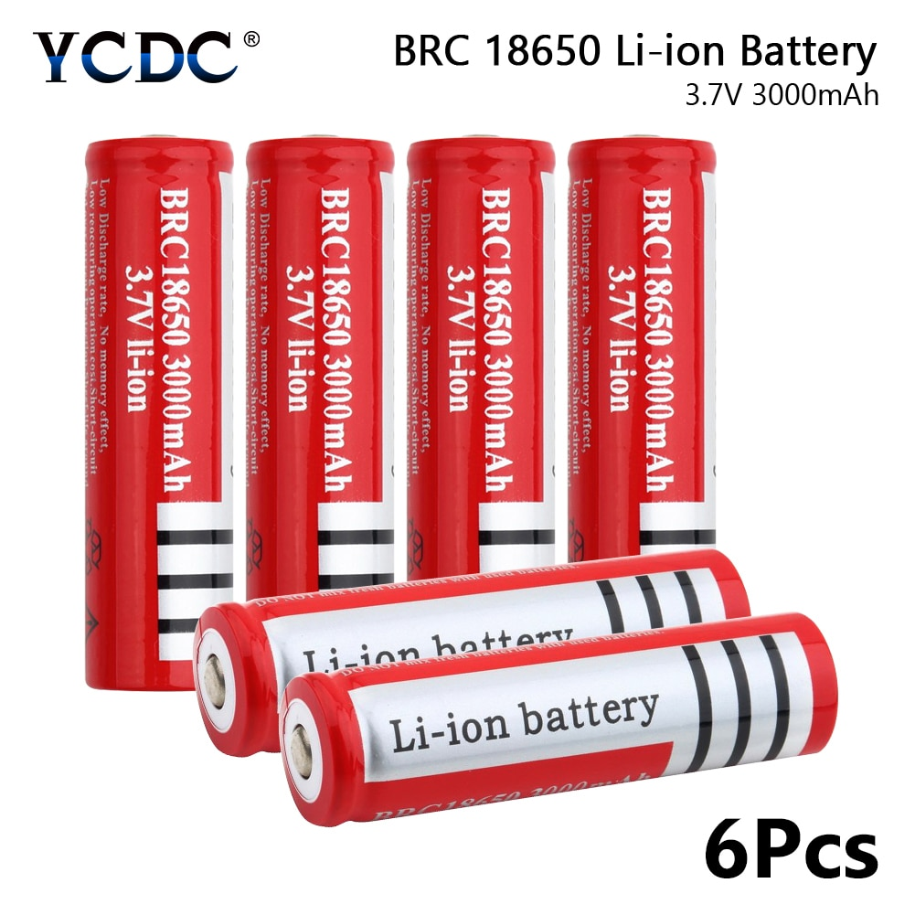 YCDC, 6 uds., linterna de alta capacidad, BRC 18650 linterna de cabeza, recargable, 3,7 voltaje V, batería de 3000mah, baterías de iones de litio
