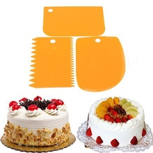 3Pcs/Set Plastic Cake Cutting Scraper Set Cake Decorating Tools Bakeware Scraper Cake Cut Knife Scra