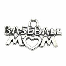 WYSIWYG 12 pièces 26x14mm Baseball pendentifs charme Antique argent couleur maman Baseball pendentif Baseball maman pendentif