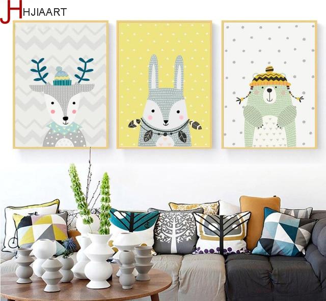 Nordic Minimalist Cartoon Moose Decorative Painting Rabbit Frameless Wall Art Canvas Picture Childrens Room Decoration