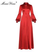 Moaa Yina Fashion Designer Runway dress Spring Summer Women Dress Turn-down Collar Lantern Sleeve Prom Party Elegant Dresses
