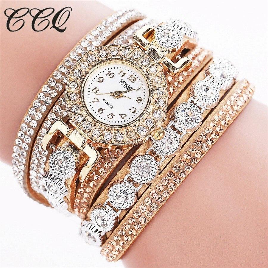 CCQ relojes de pulsera de lujo con diamantes de imitación para mujer, reloj de cuarzo informal para mujer