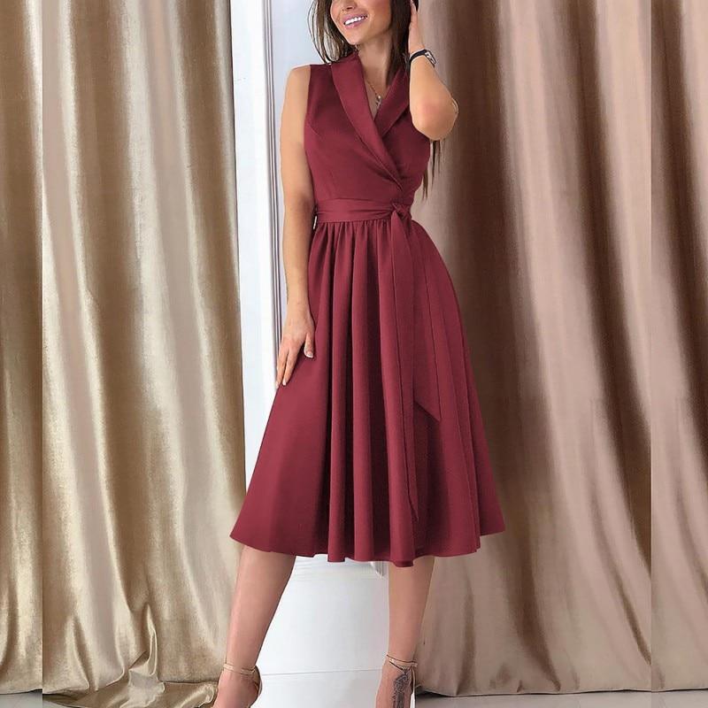 Vestido Vintage sin mangas para mujer, vestido de verano con escote en V profundo, Festa de talla grande, vestido de fiesta rojo elegante para mujer 2020