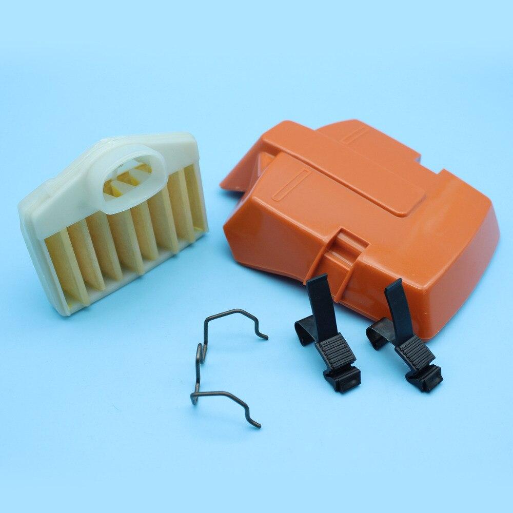 Cubierta de filtro de aire Clip de resorte y soporte adecuado para Husqvarna 362 365 371 372 motosierra de repuesto 503 81 45 02, 503 73 54 01