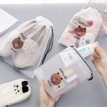 Practical Cartoon Bear Figure Portable Cloth Shoe Socks Cosmetics Storage Bag Originality Transparent Travel Bags Drawstring Bag
